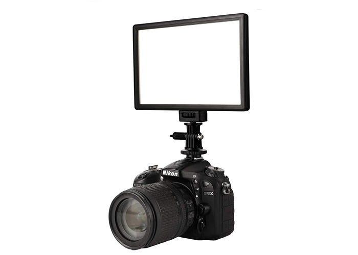 horizontal rectangular LED panel light mounted on a camera