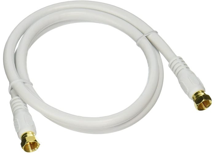 thick, coiled white coaxial cable with brass colored ends