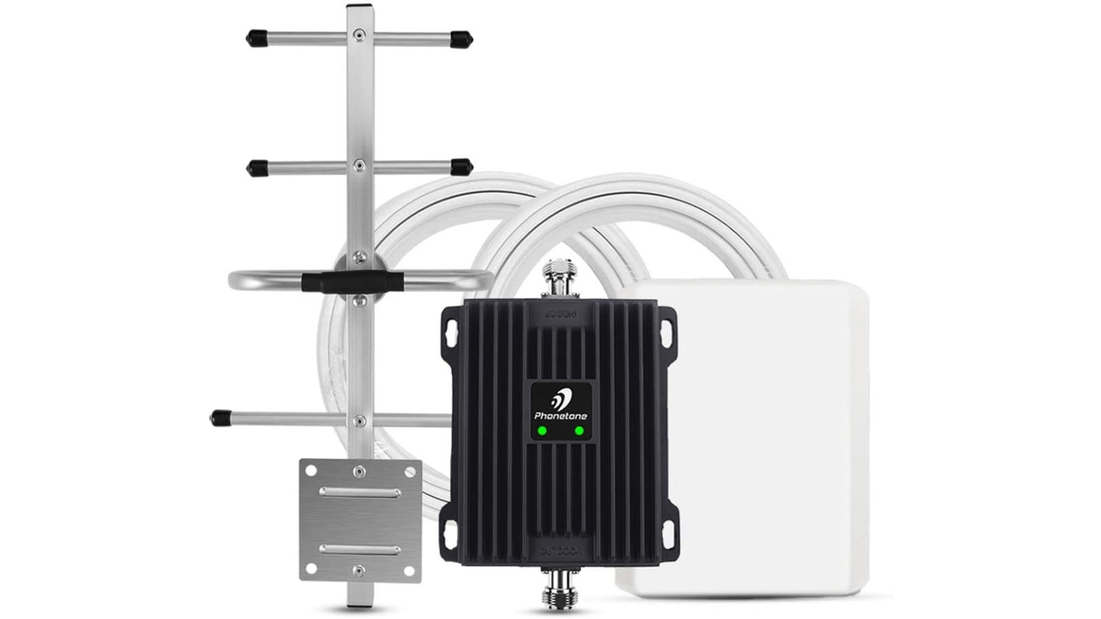 silvery, black, and white cell phone signal booster kit