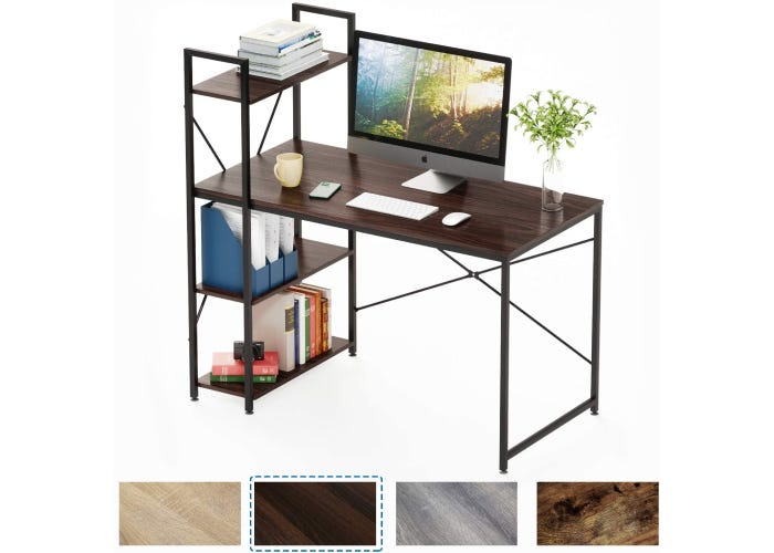 slender metal and wood desk with three shelves built-in on the left side