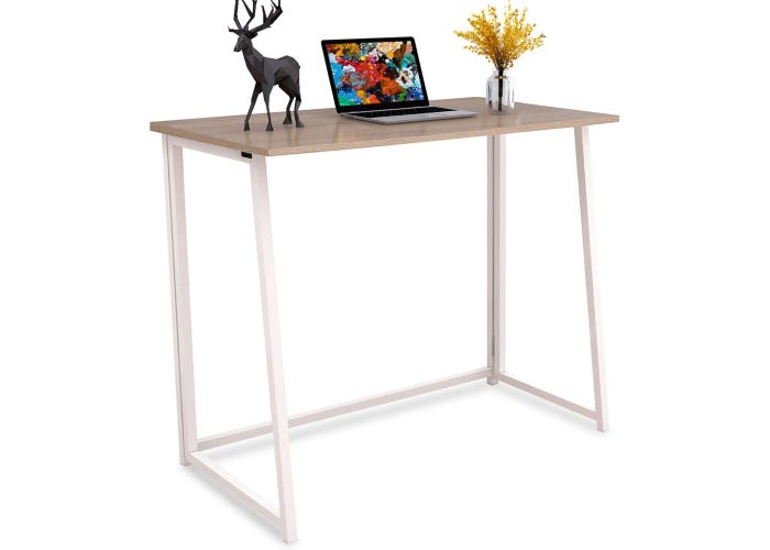 tall, slender folding white legs and wooden top