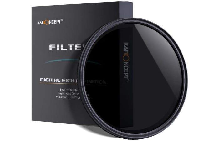 semi-sheer black neutral density filter beside its black box