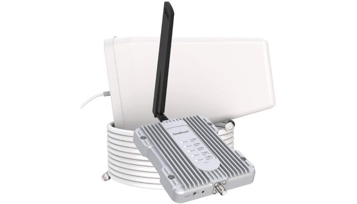 white and silver cell phone signal booster kit