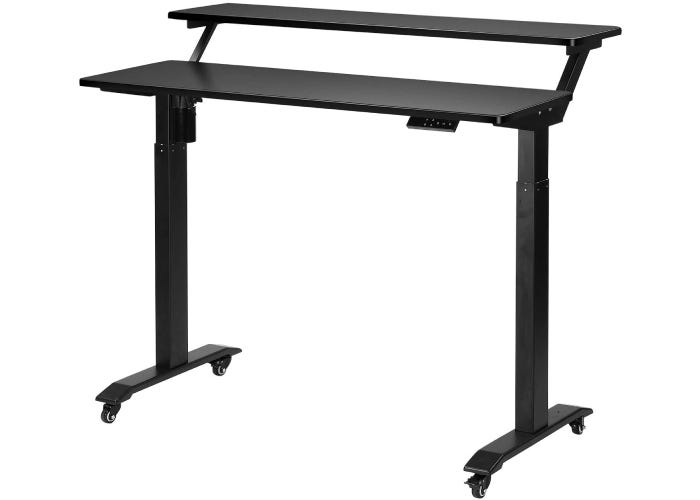 two-tiered, open black desk with wheels