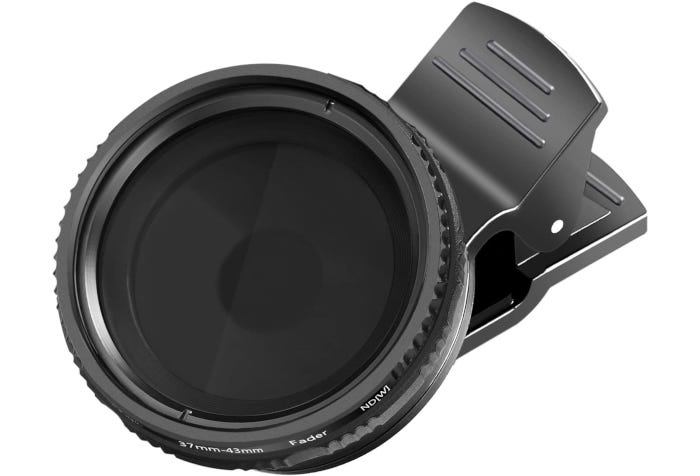 black neutral density filter with a dark gray clip