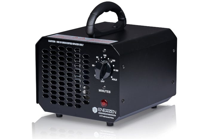 square black ozone generator with a carrying handle
