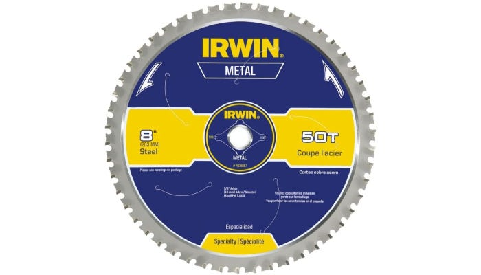 gray circular saw with flat topped blades and a blue and yellow center