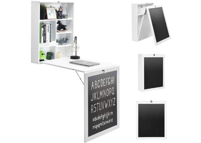 fold in compartmentalized floating white wall desk with a black chalkboard front