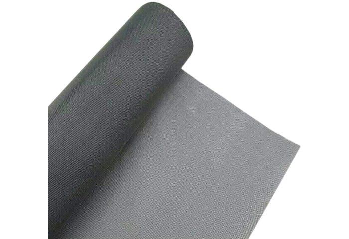 closeup of a rolled up dark gray window screen