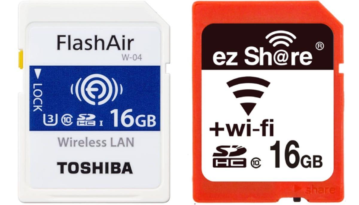 one Toshiba FlashAir and one ezShare 16 GB Wi-Fi SD card