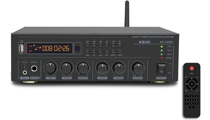 large dark gray stereo receiver with an antenna and a black controller