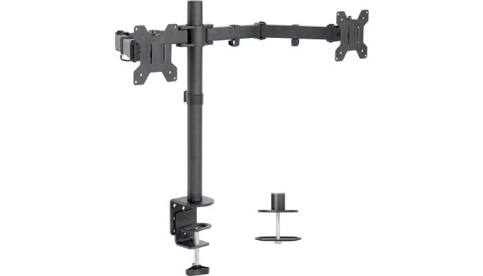upright gray dual monitor stand with horizontal mounts
