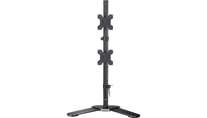 verical gray dual monitor stand