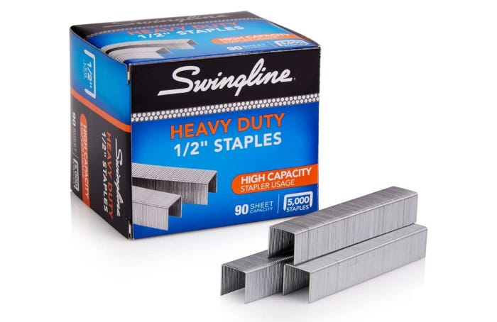three rows of stacked tall staples beside their