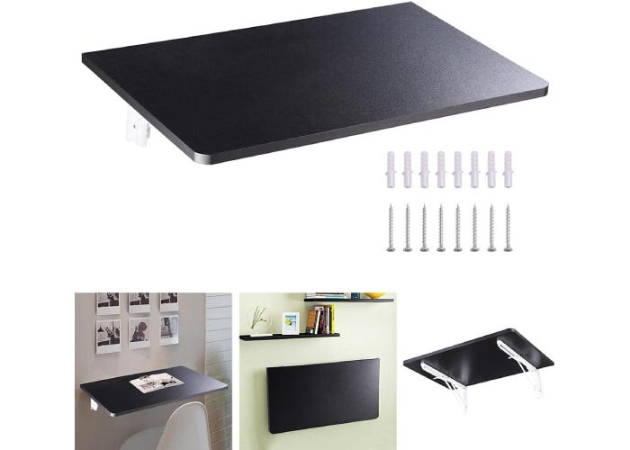 fold down black floating wall desk with its screws