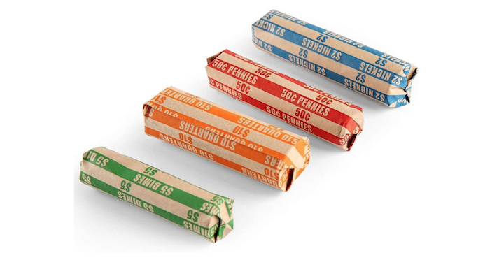 four color coded coin wrappers
