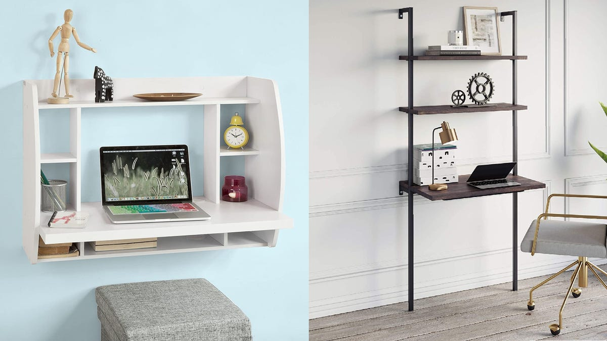 two different wall desks in two different rooms