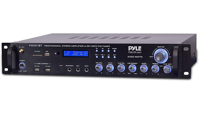 short, long black stereo receiver with blue lights around the knobs