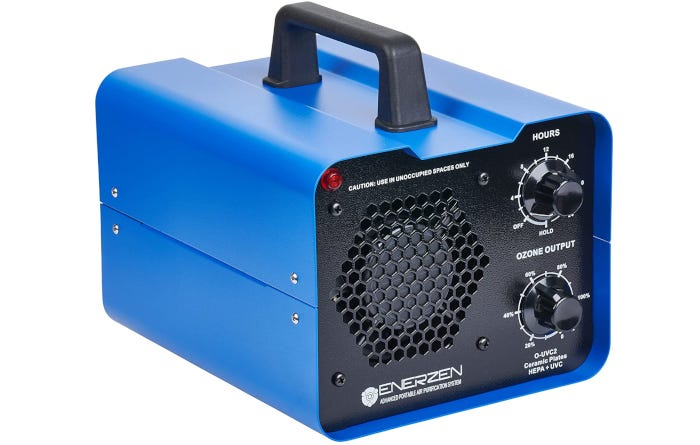 square shaped blue and black ozone generator with a carrying handle