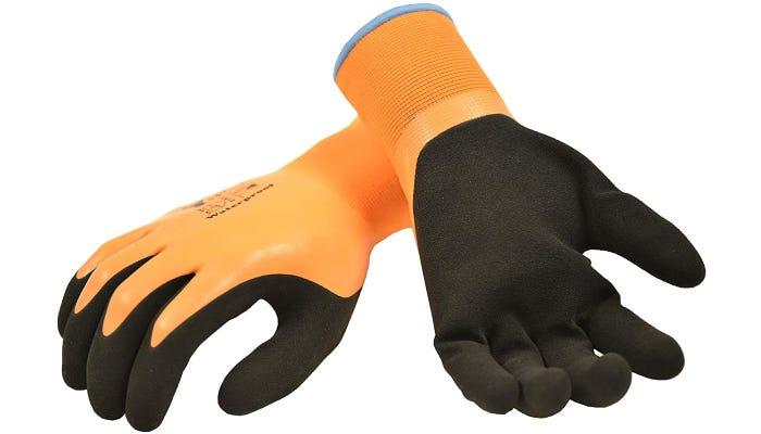 orange and black fishing gloves