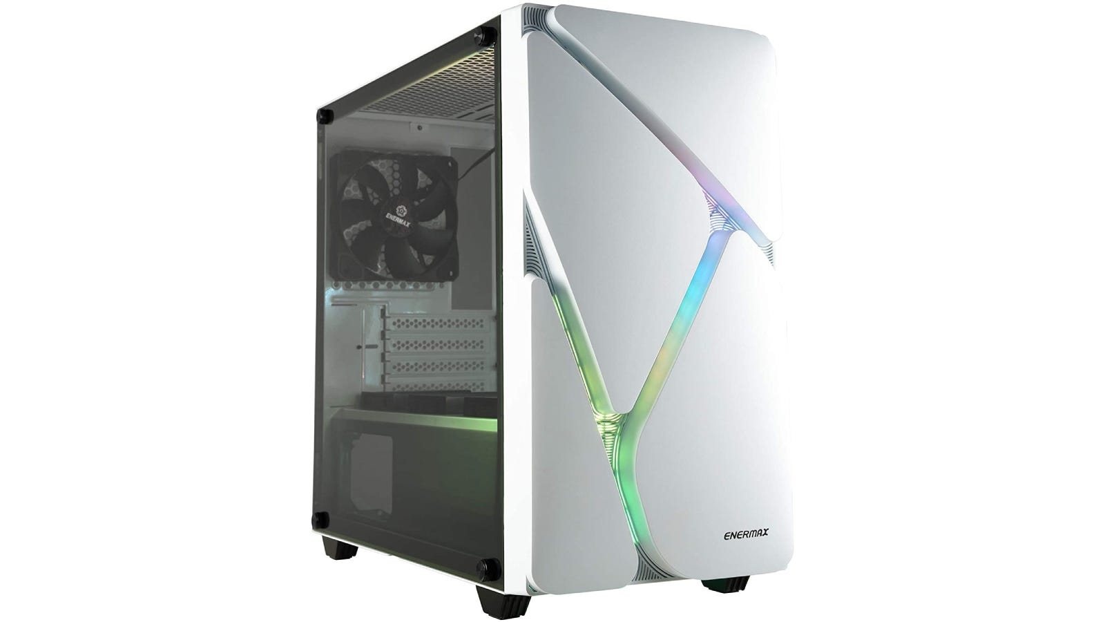 a white/silver RGB case with a zig-zag of light showing through the design