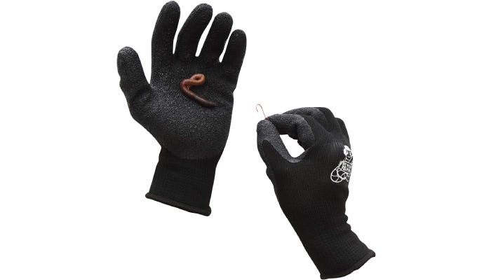 black fishing gloves, one holding a worm in its palm and the other holding a hook