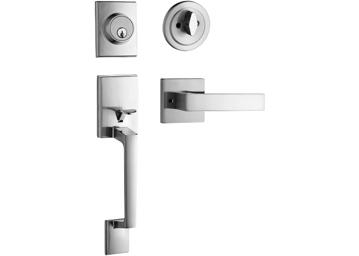 two chrome door handles, one horizontal and one vertical, with matching locks