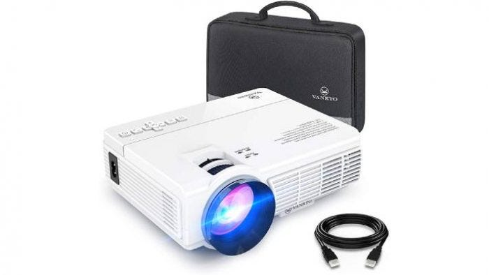 white mini screen projector with a black carrying case and black USB cable