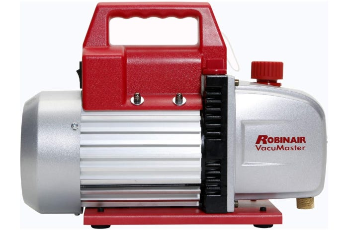 light gray and red vacuum pump with a black accent