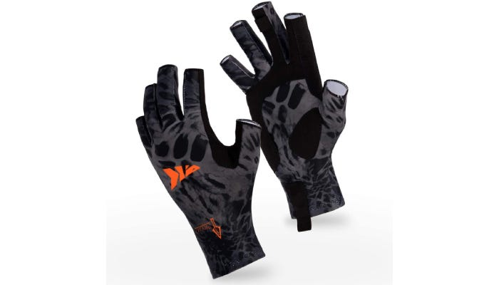 tipless black and gray fishing gloves with an orange logo on the back of the hand