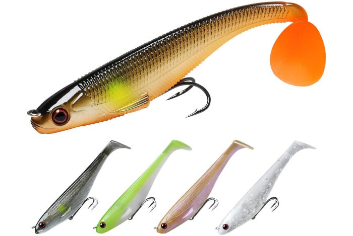 five small fish-shaped bass lures in different colors, each with double hooks
