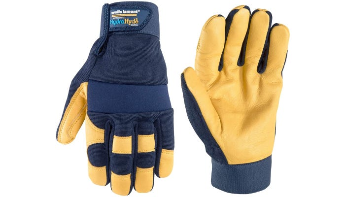 navy blue and yellow fishing gloves