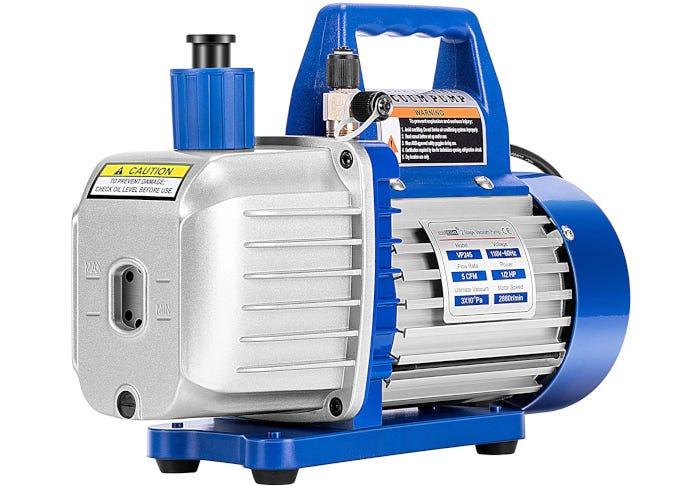 light gray and blue vacuum pump