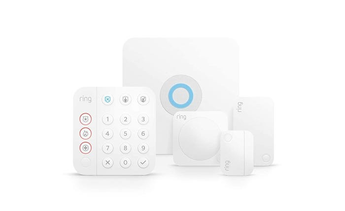 five-piece ring home security set including a keypad and motion sensor