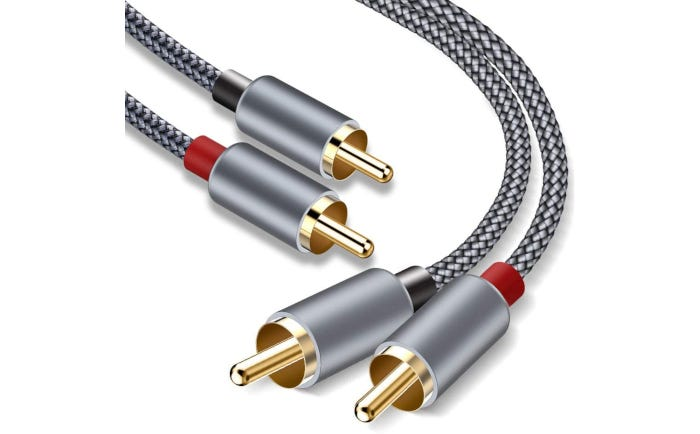 two gray rope-like subwoofer cables with pale copper-colored ends