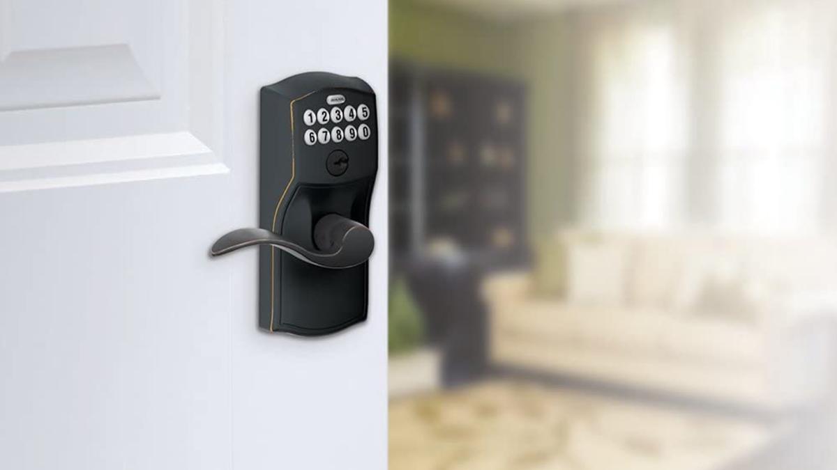 dark keypad door handle with white buttons
