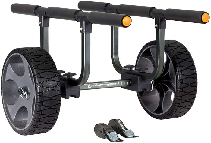 two-wheeled black and gray kayak cart with two small black stoppers