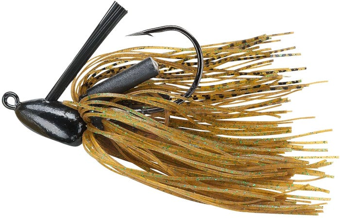 black hook bass lure decorated with yellow strings