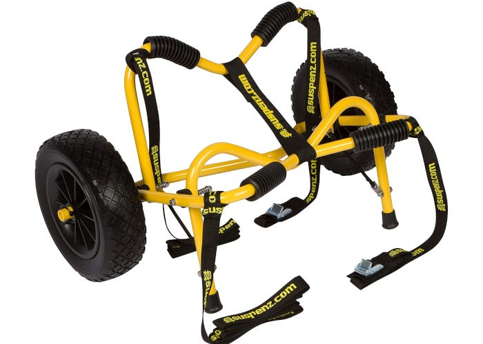 two-wheeled yellow kayak cart with black straps and wheels