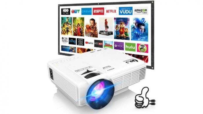 white mini screen projector with a wide screen tv
