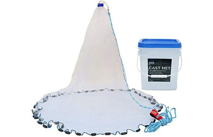 white mesh fishing net with jagged edges and a sky blue cord and fishing bucket
