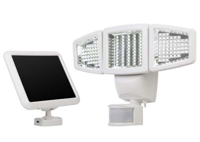 triple white solar landscape light with a matching solar panel