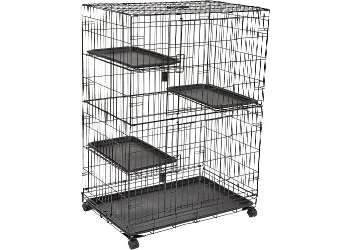 tall three-tiered cage-like cat kennel with wheels