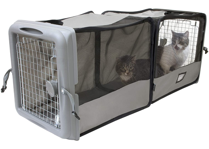 two cats inside an extra large, soft cat kennel with solid cage doors