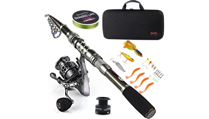 dark chrome and black fishing pole with hooks and line and lures and a black carrying case