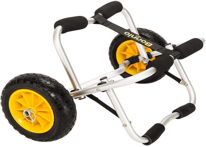 two-wheeled chrome kayak cart with black and yellow wheels and black accents