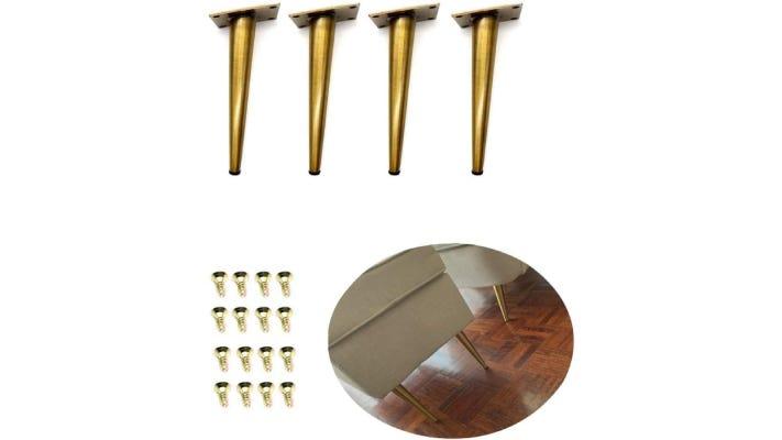 set of long, narrow golden couch legs