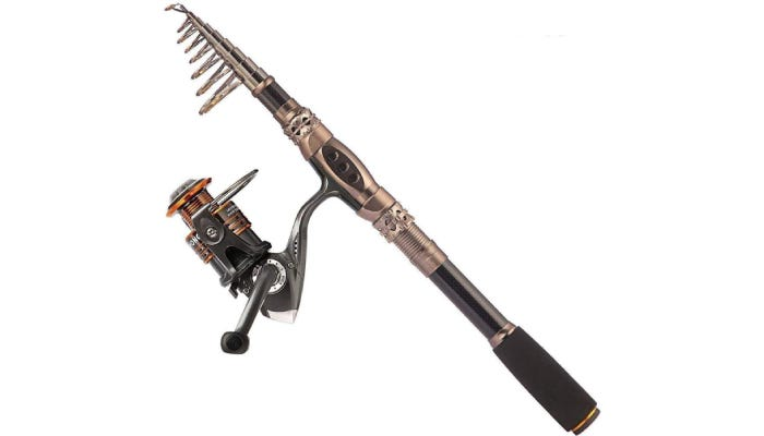 unique shaped brown and black metal fishing pole