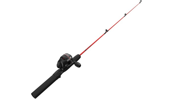 red and black fishing pole