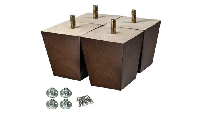 set of four deep brown wooden square couch legs with built-in screws